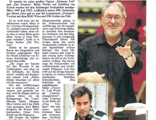 """100.  Geburtstag Gottfried von Einem / Festspiele Salzburg """"Der Prozeß"""" August 18"""
