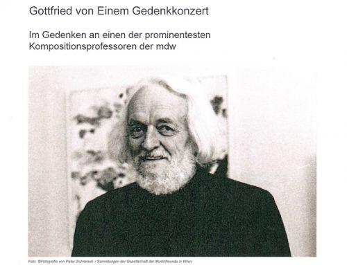 100. Geburtstag Gottfried von Einem / Gedenkkonzert mdw Dezember 18